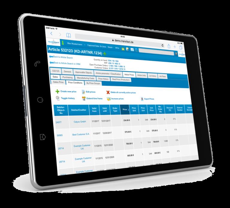 Transfact CRM 价格条件iPad 截图