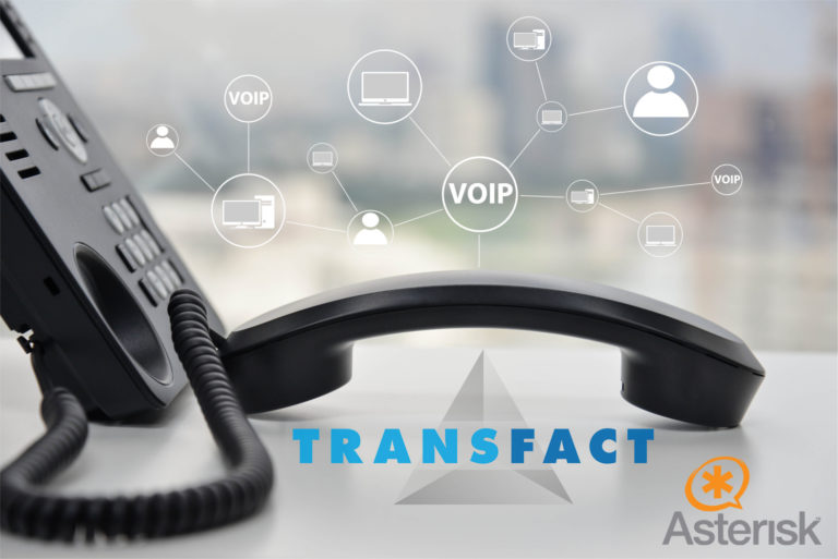 IP Phone with VoIP icon + Transfact Logo + Asterisk Logo