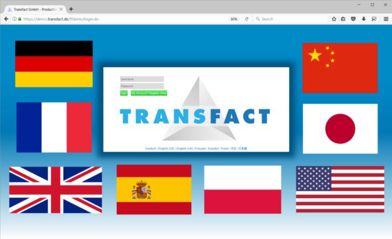 Transfact 登录页面有代表语言的国旗标识